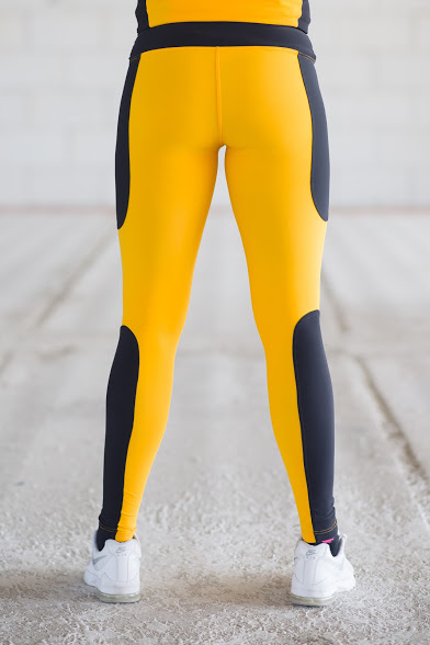af62ae2c5a HRO Női citromsárga – fekete hosszú leggings – Heero Wear   Légy a ...